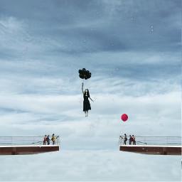 freetoedit bridge people girl black ballon fly flying stars surreal remixit
