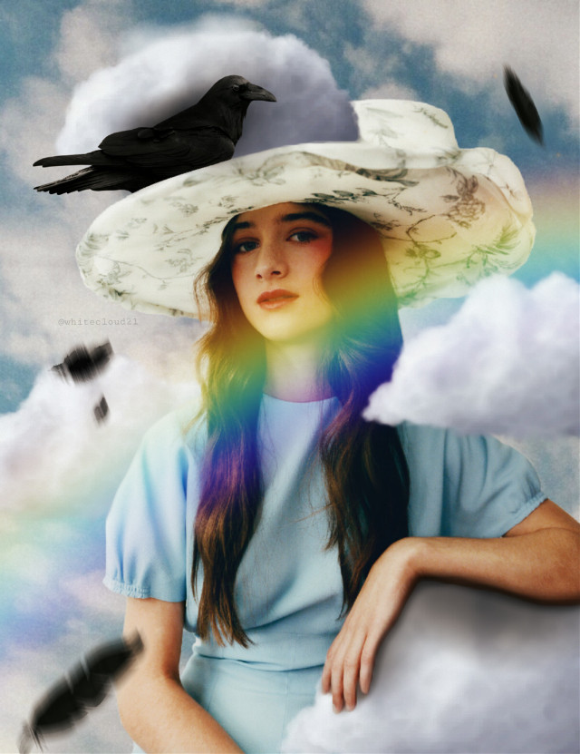 #madewithpicsart #myedit #madebyme #crow #girl #sky #clouds #rainbow #newbrushes #lightblue #feathers #black #intothesky @picsart