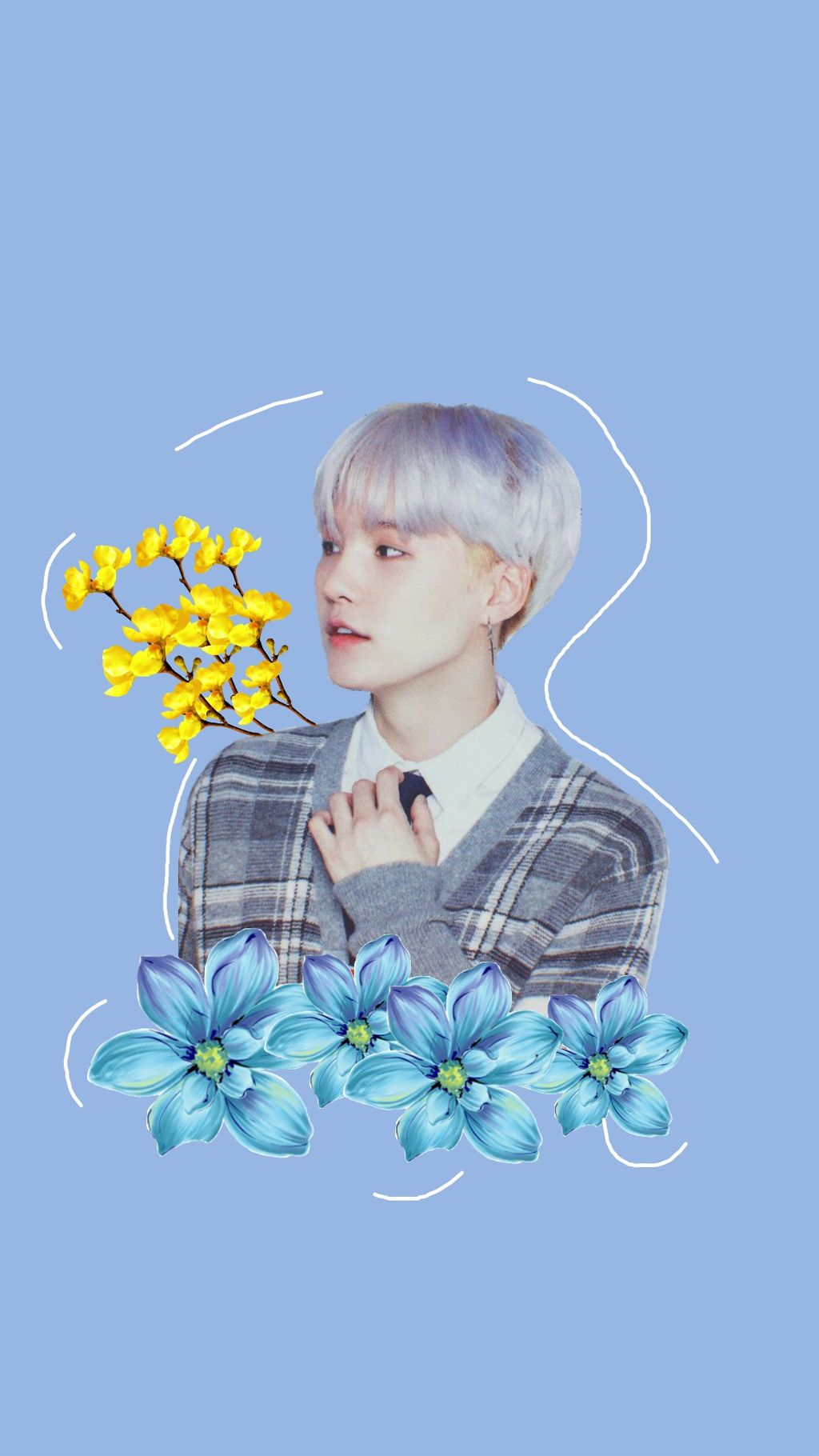 Wallpaper Lockscreen Bts Cute Blue Yellow Kpop Flowers