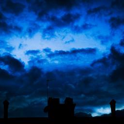 sky blue clouds dark bad freetoedit