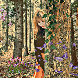 freetoedit feature forest girl deer ircnaturalbeauty
