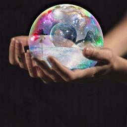 freetoedit fantasy bubble world surreal srcglittergalaxy