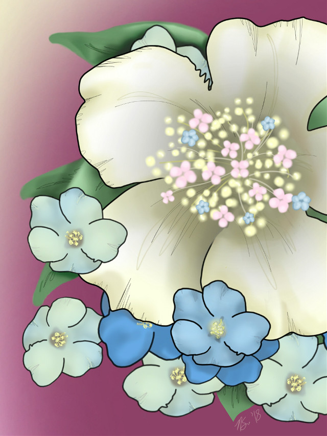 #mydrawing #painting A birthday memory.   :) #drawnwithcolorapp #drawnwithpicsart #flowers #beige #pink #blue #dcflowery #freetoedit
