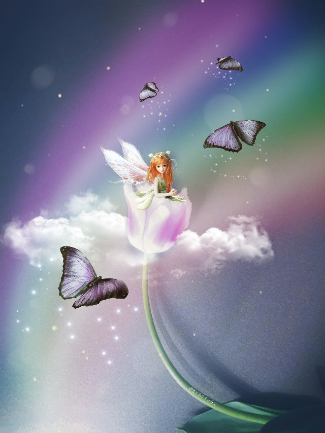 I hope you like this one too Elen ☺ ! Happy Easter  🐣  #freetoedit #edited #doubleexposure #fairy #tulip #newbrushes #rainbow Op @elengrigoryan @