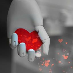 red playwithpicsart colorsplash heart blackandwhite