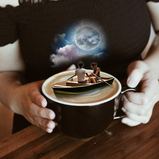 #freetoedit #boat #cupofcoffee #cup #coffee #dreams  #unusual #remixed #hipallzone