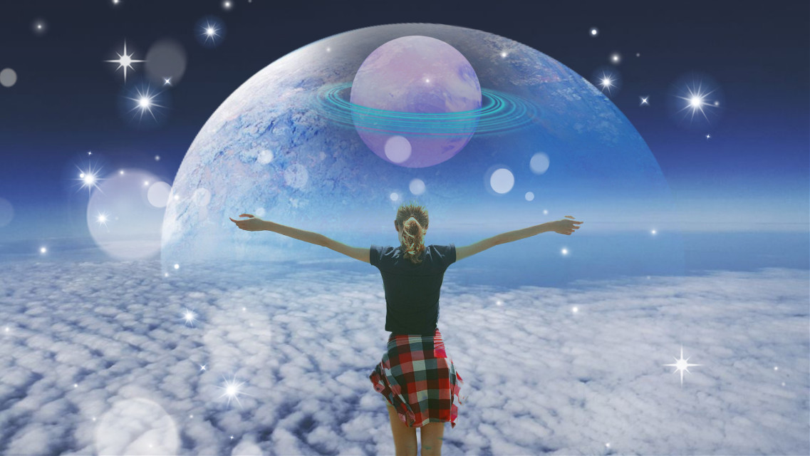 #freetoedit #space #top #topof #sky #high #sohigh #clouds #girl #fly #epic #beautiful #blue #unusual #planets #theme #spacetheme #remixed #hipallzone