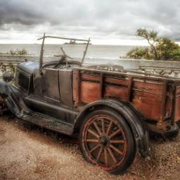 freetoedit oldcar car panoramicview cloudscape