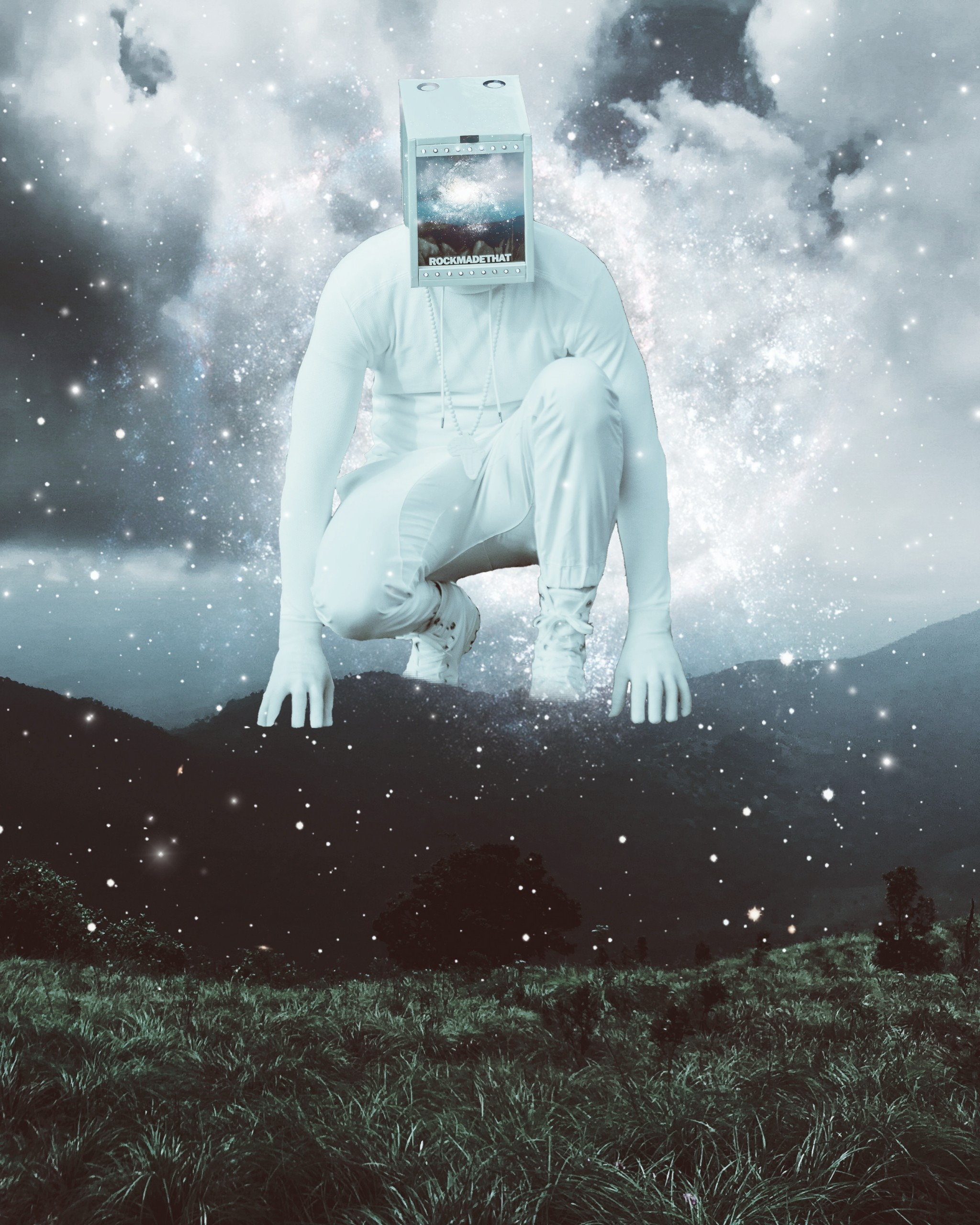 #freetoedit @rockmadethat #mask #faceless #stars #galaxy #nature #surrealism #robot #alien #cyborg #starseed #starboy #mountains #picsart