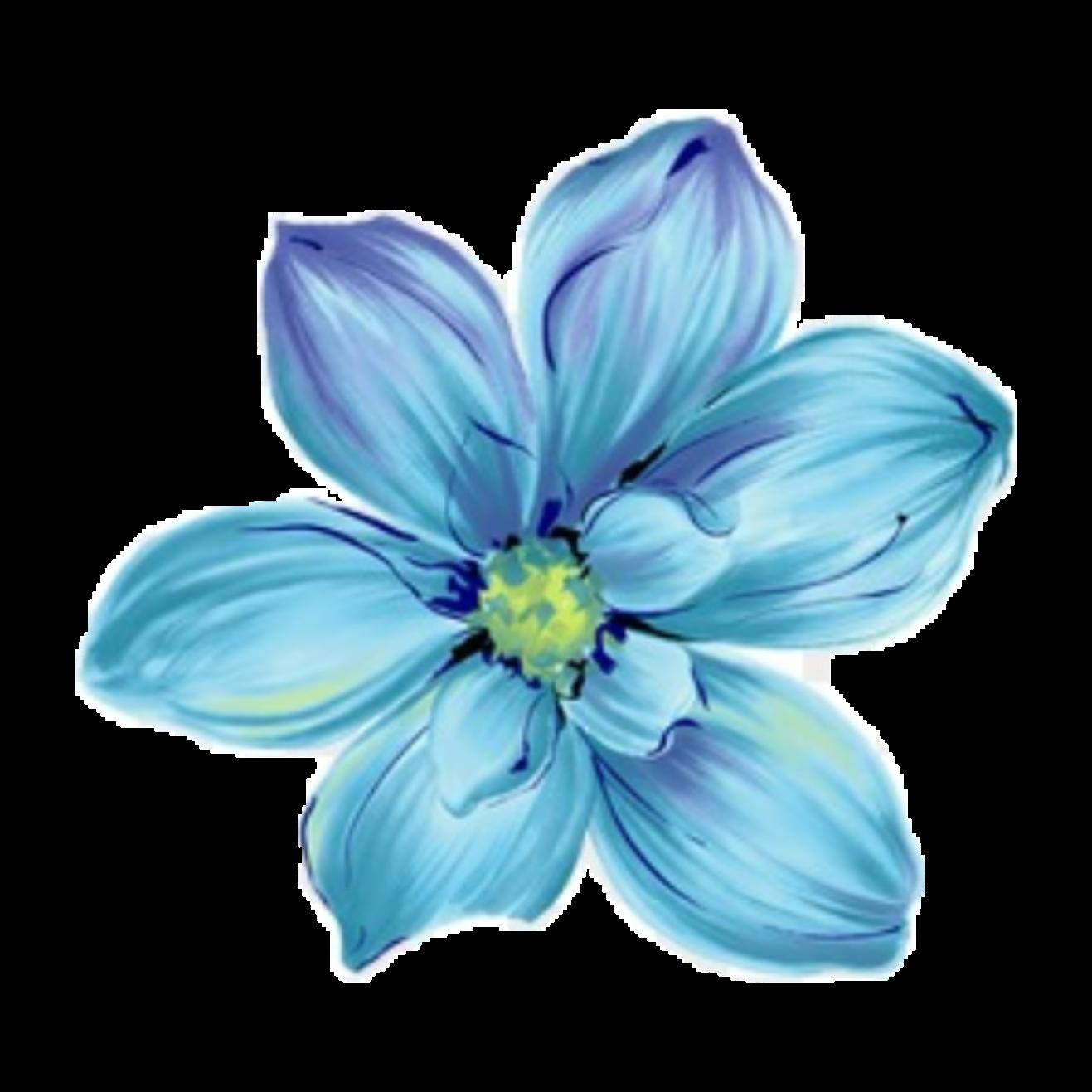 ftestickers art watercolor flower blue...