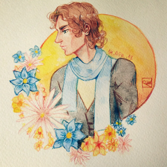 Anakin Skywalker with flowers (◕‿◕✿)#myart #starwars #anakinskywalker #watercolor #pencildrawing