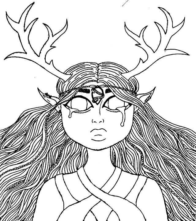 #freetoedit #original Her name is Arwynn.  She's not finished yet, and I have no idea what she is or where she came from, But I think she's coming along great. Just have to fill in the colours 😊