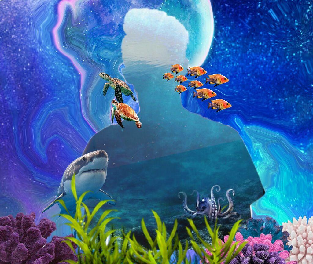 Underwater glimpse...  #underwater #freetoedit #turtle #fish #shark #blue #doubleexposure