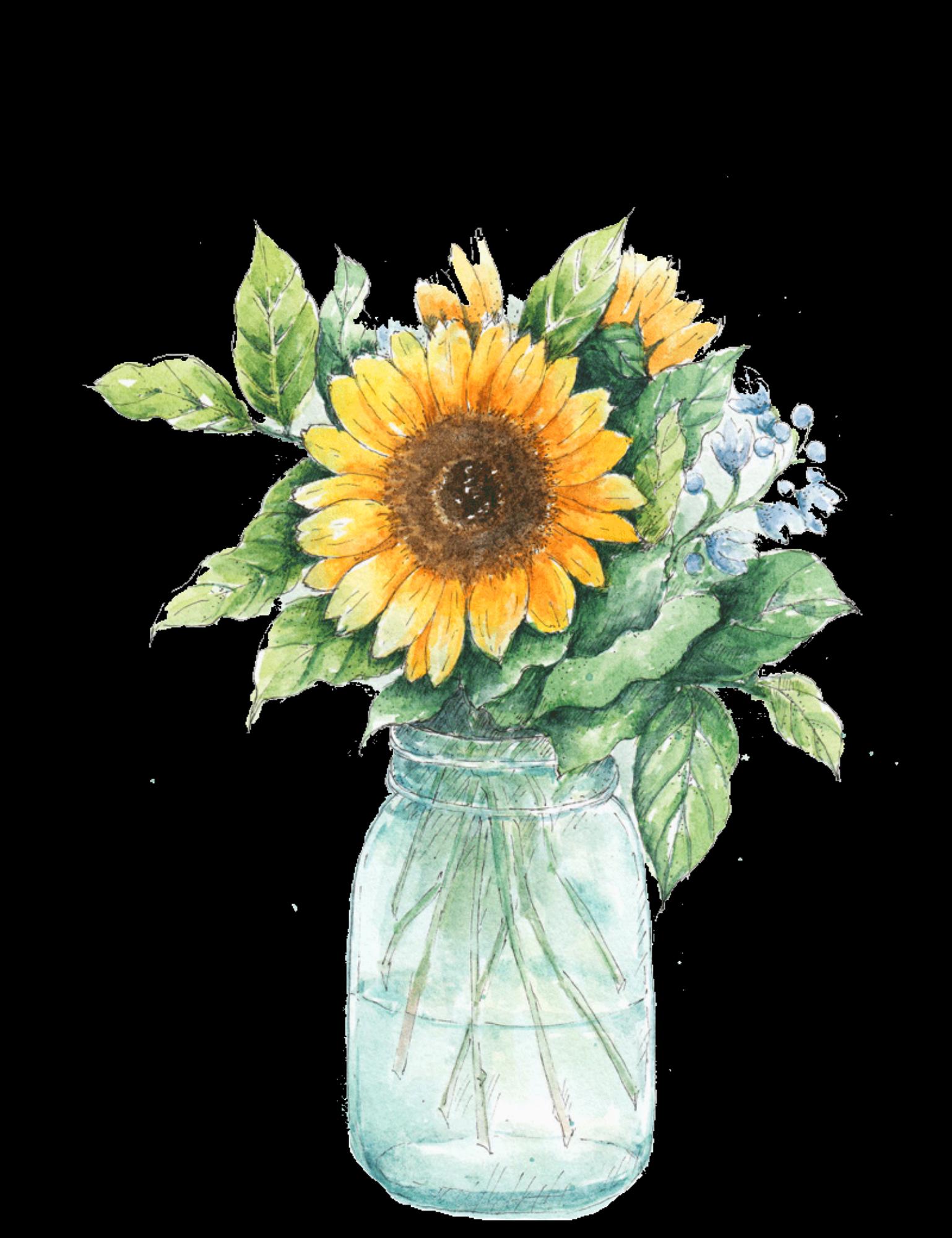 ftestickers watercolor sunflower masonjar...