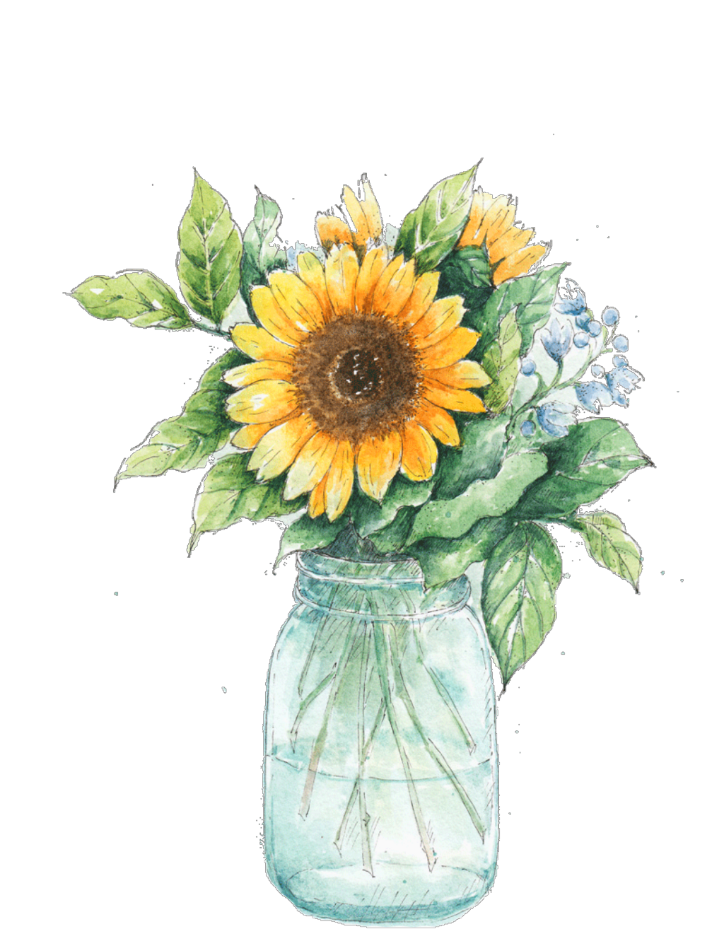 Ftestickers Watercolor Sunflower Masonjar