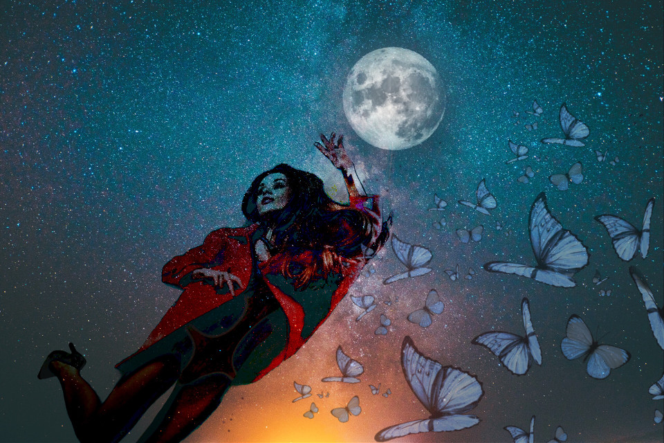 #freetoedit #remix #remixit #sky #girl #fly #butterfly #moon #skyremix