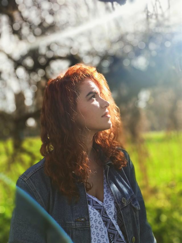 #sun #fun #sunnyday #sunny #girl #ginger #orange #green #rainbow #nature #basking #curly #hair #woman #