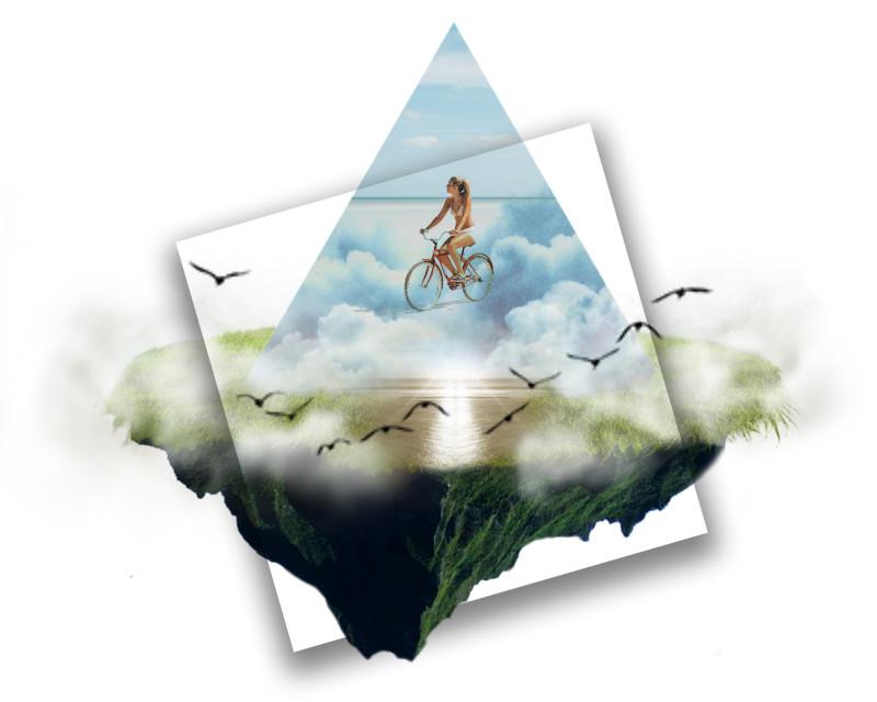 #freetoedit #island #clouds #bike #ride #beach #sun #ocean #grass #float #birds #fly #shapes #triamgle #square #land #summer