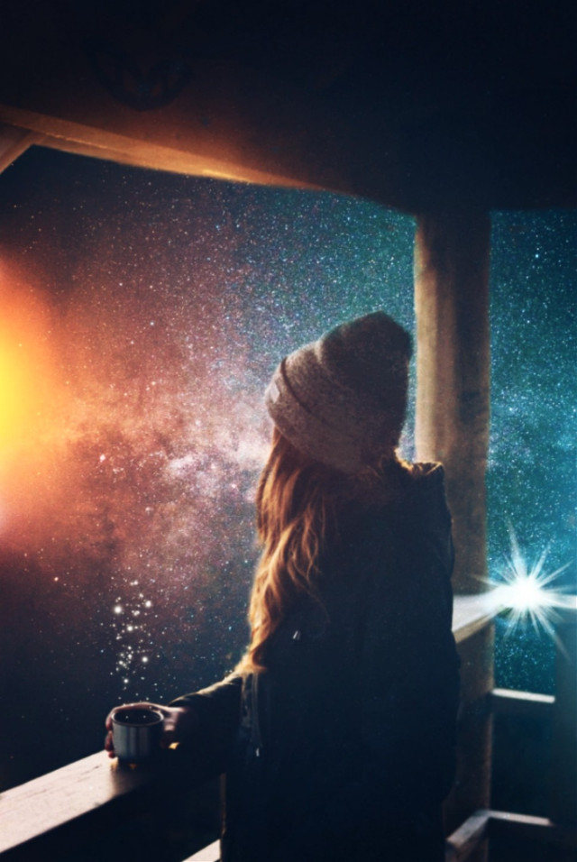 #freetoedit hi everyone! I had a busy weekend so it's a bit late... 😄💕 #intothegalaxy #myedit #girl #coffee #galaxy OP from unsplash @pa @freetoedit