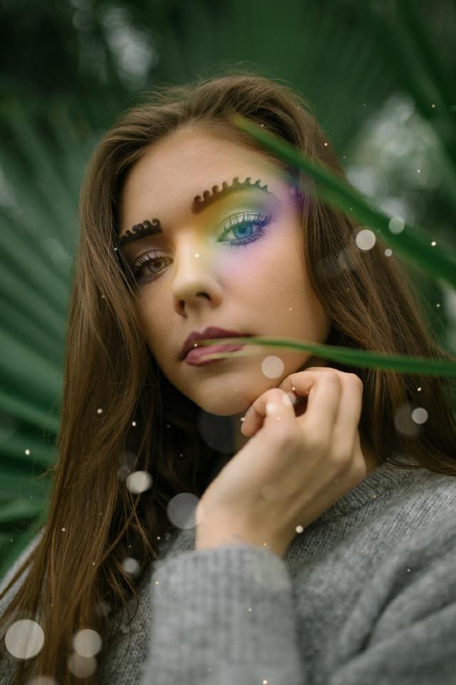 #freetoedit #girl #brows #curled #rainbow #plants #glow