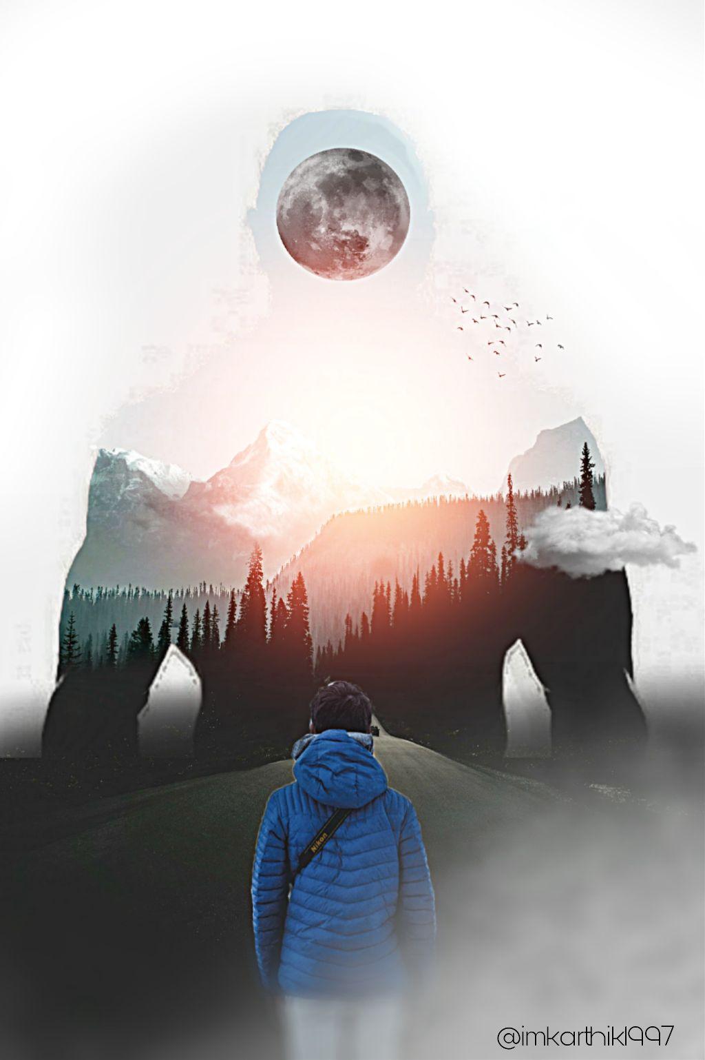 Instagram 👉 @imkarthik1997  #madewithpicsart #madebyme  #art #artist #Photo #photography #photomanipulation #edit #nature #moon #landscape #nature #naturephotography #FreeToEdit #RemixIt #edited #editedbyme #picsart #clouds #Mountains #picoftheday #photo