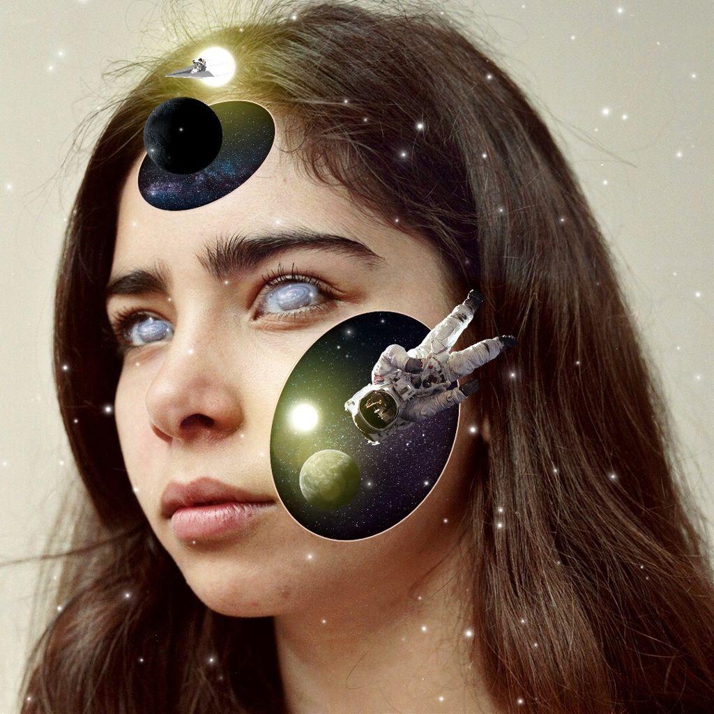 #freetoedit #woman #face #surreal #hole #galaxy #universe #picsart