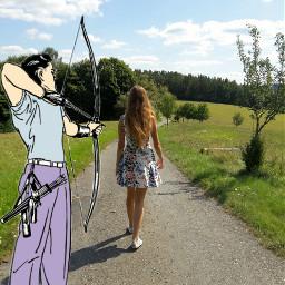 freetoedit archery target girl picsart
