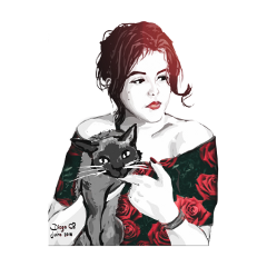 girl cat red freetoedit