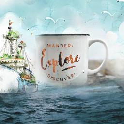 freetoedit ship watercolor irctravelmug travelmug