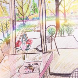 cafe illustration drawing arts spring