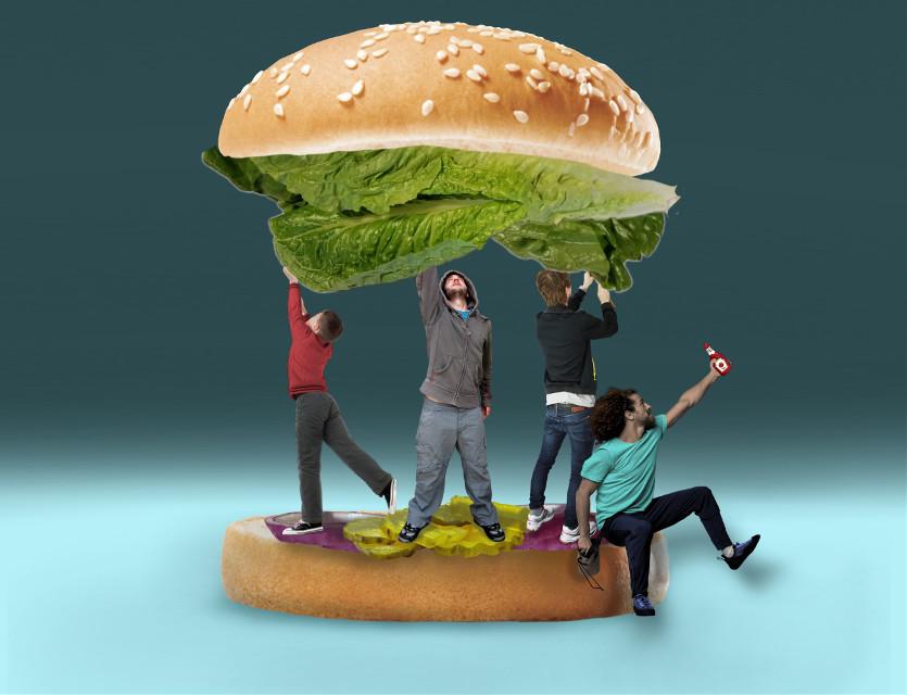 #freetoedit  #irchamburgerbun #hamburgerbun Burger Party #lettuce #onion #pickles #men ON A SESAMESEED BUN! 😊