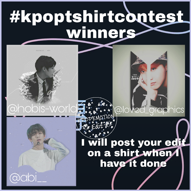 I decided to end a day early. Again. But congrats 🎆 to the winners----  @abi__  @loved_graphics  @hobis-world  I will post when the edits are on a shirt!! Thank you to those who participated---  @bangtanbombs  @kimaby3012  @shookookiee  @cool_army  @park_mochii  @oldsouls  @krahun  @bangtanedits_   I loved all of the edits and it was honestly very difficult to choose 💞 So thank you for participating! I may do another contest. I'm not sure.   ----NOTES---- PLEASE READ----  I am not back yet. I have two more days of school and it is really really stressful. All of my finals, I am failing a class and trying to bring that grade up the best I can. I have sunburn so it's kind of hard to do things. I have it on my hands as well so it's even more hard to type, draw or edit. Too many things are happening at once, mentally and physically but I can promise I'll be back by Sunday or Monday. I am getting better. This break is doing good for me... I love you guys so much 💞 Also thank you---  @nxmjoonie  @xbtsloverx  @internationalbangtan  @pjim95   @krahun  @aestheticalyjhope   @bwined   For leaving the amazing comments. I love you guys 💞 I hope you guys haven't left me yet 💥  #kpopshirtcontest #bts #bangtanboys #bulletproofboyscouts #beyondthescene #bangtansonyeondan #kpop