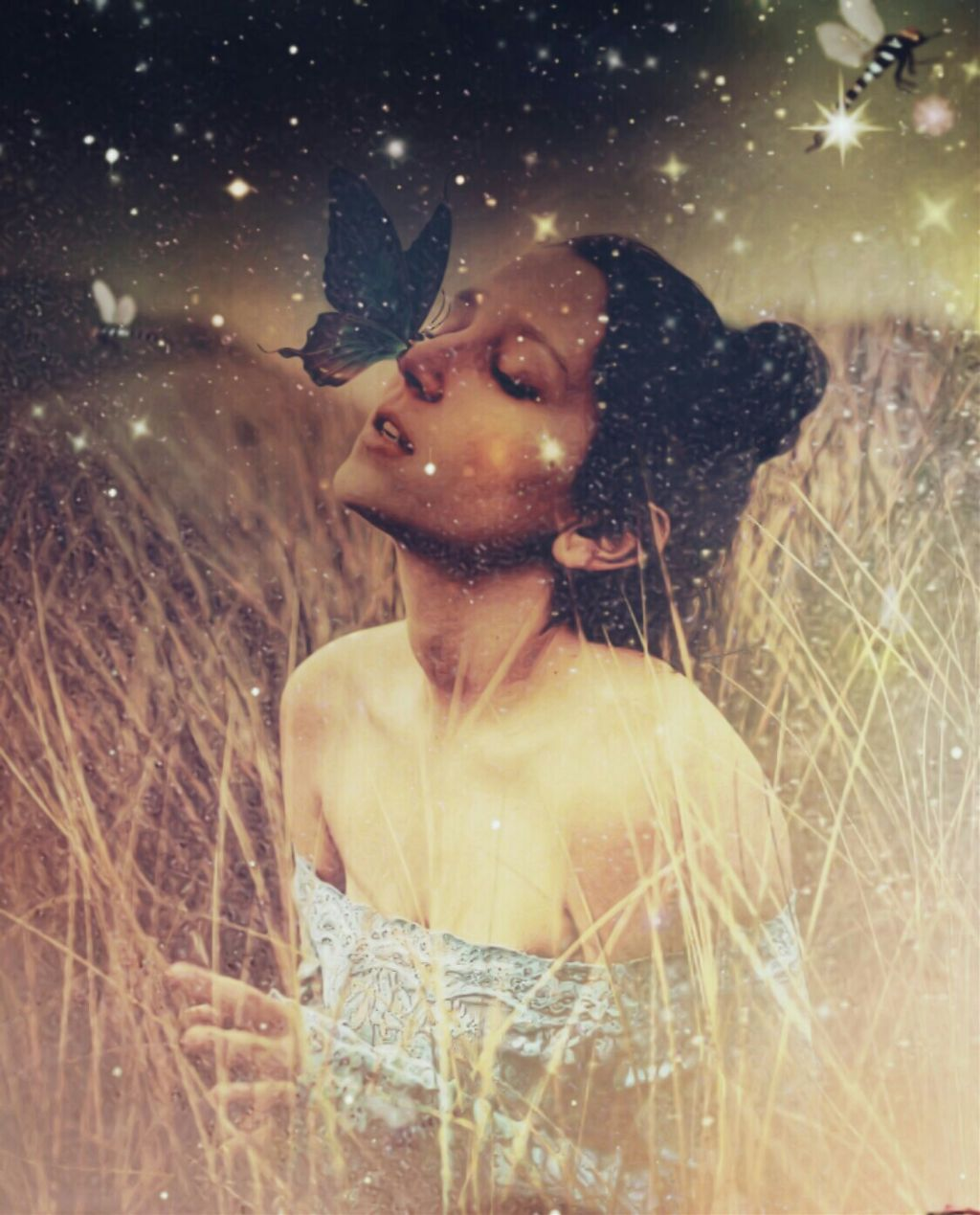 #freetoedit #butterfly #girl #field  🌸🌻🌾🌹✨ When the spirit of nature touches us, our hearts turns into abutterfly.