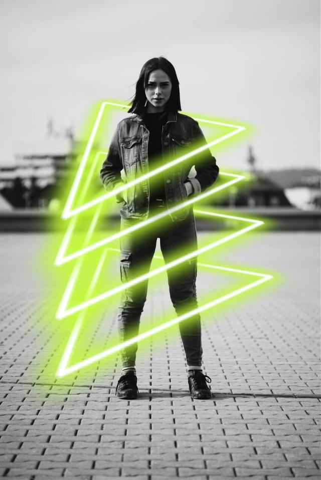 #freetoedit #women #powerful #confidence #black #jacket #leather #boot #suit #blackandwhite #neon #light #triangle #capture #captivity #power #strength