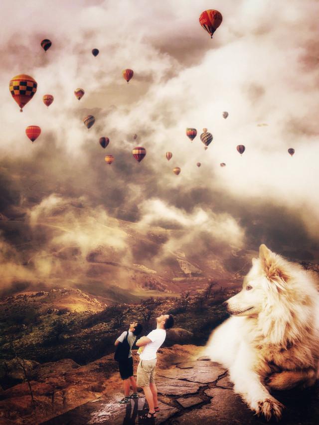 Background image from @delarammahdavi and dog from @freetoedit  some stickers too. #photomanipulation #giantanimals #mountains #nature #editstepbystep #myedit #dog #petsandanimals #stickers #airballoons