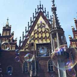 townhall catherdal bubbles colorful town
