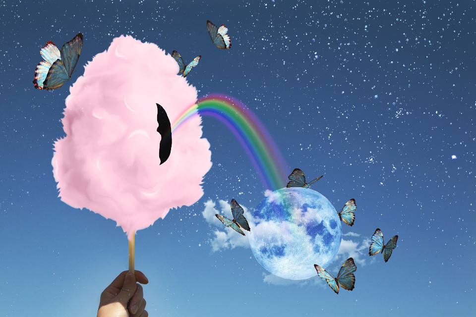 #freetoedit #cottoncandy #rainbow #moon #clouds #butterflies #surreal #surreality #hand #stars #sky #colorful #dramaeffect
