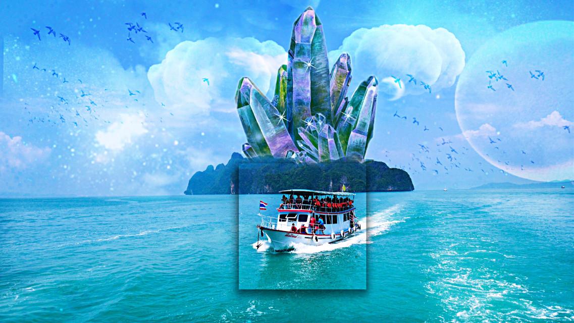 Land of the unexpected . . . . . . . . . . . . . . . . .#freetoedit #tumblr #tumblrphoto #tumblrstickers #edit #remix #remixed #comment #boat #island #sea #ocean
