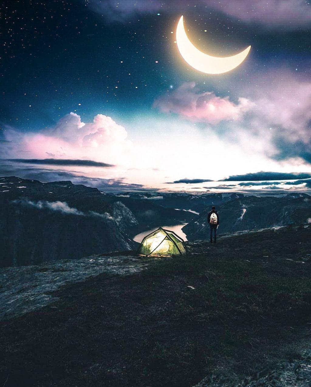 The beauty of sky🌙  #nightsky #lights #moonshine #lightroom