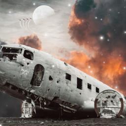 freetoedit airplane clouds airplanes moon
