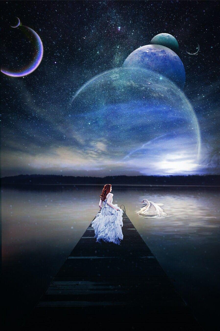 #freetoedit #landscape #surreal #girl #walk #night #galaxy #planets #moon #swan #fantasy #lake #stars