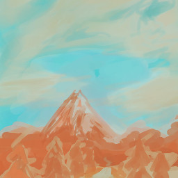 mountain drawing painting doodle pallette
