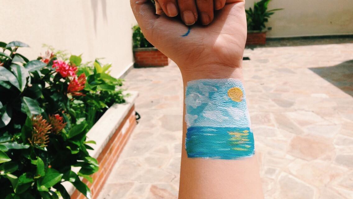 Art on me✨🌿 #freetoedit #painting #jard #summer #hand #flowers #love