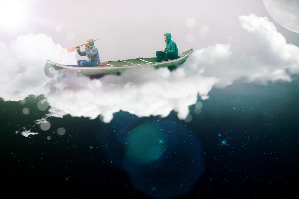 #freetoedit #canoeinginthesky #clouds #stars #dreams #stickers #picsart