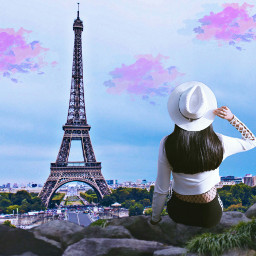 freetoedit eiffeltower perspectivetool colorful clouds