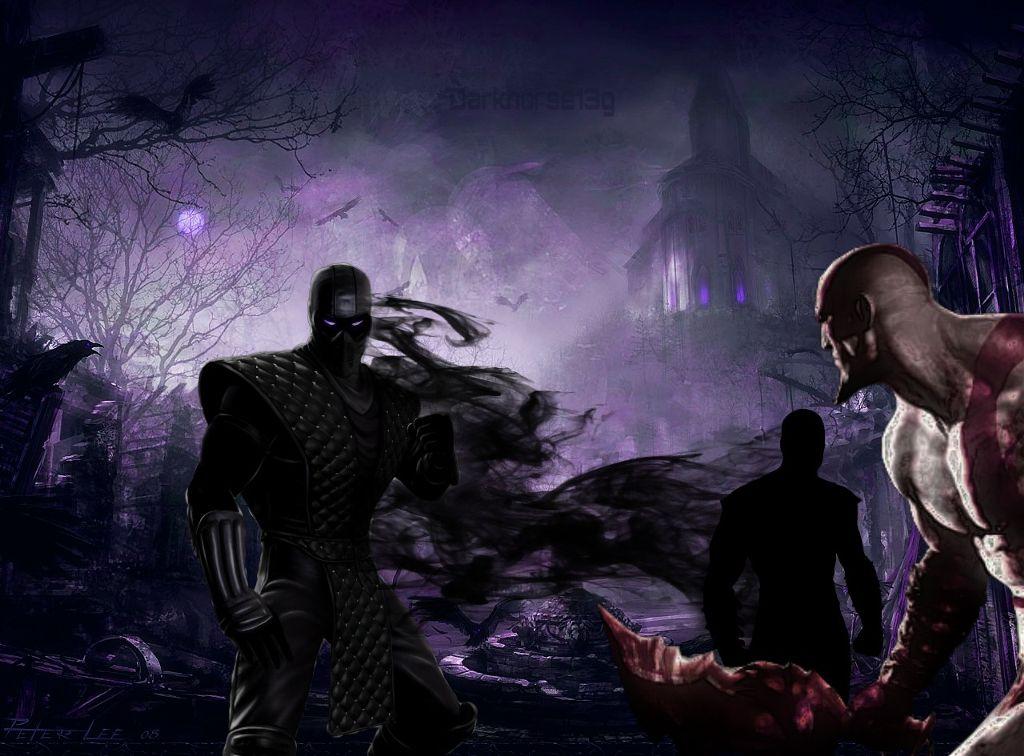 Noob Saibot fighting Kratos in a Gothic village    beca