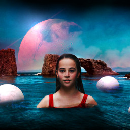 freetoedit ircsaturnsmoon girl swimming ocean