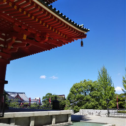 sky blue temple japan