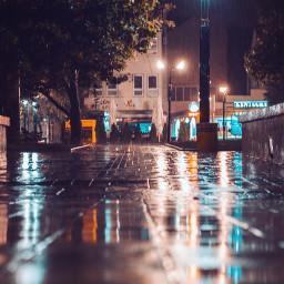 night rain light street photography