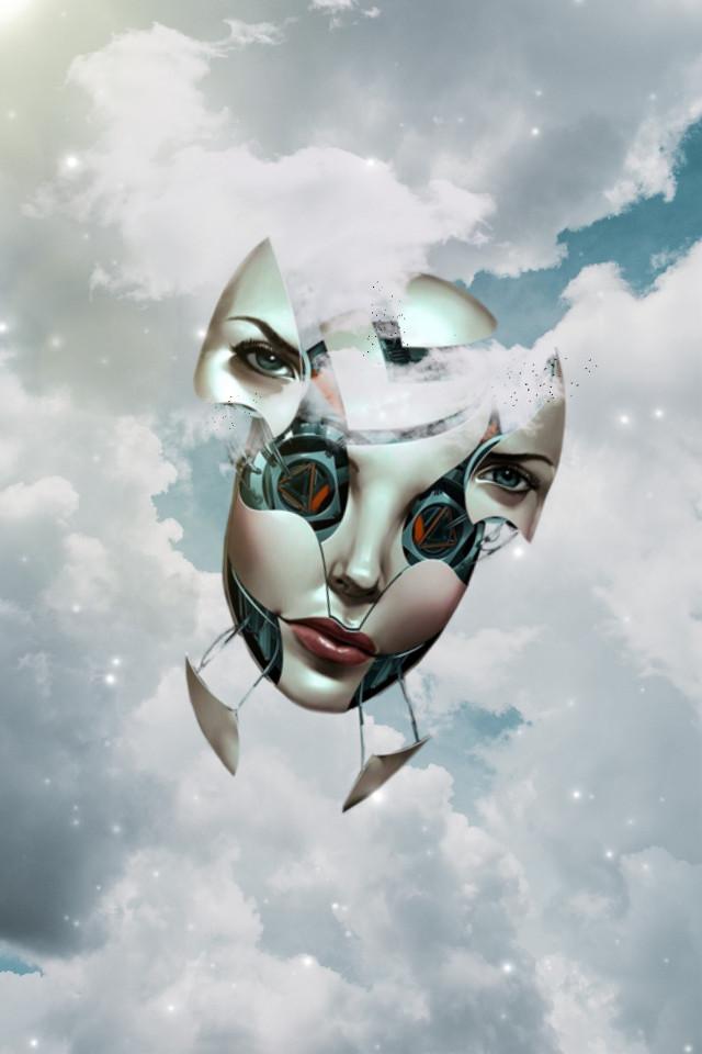 #freetoedit #face #robotic #ship #clouds #surreal #picsart #stars #birds #sun